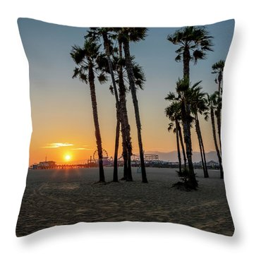 The Pier At Sunset - Square Throw Pillow