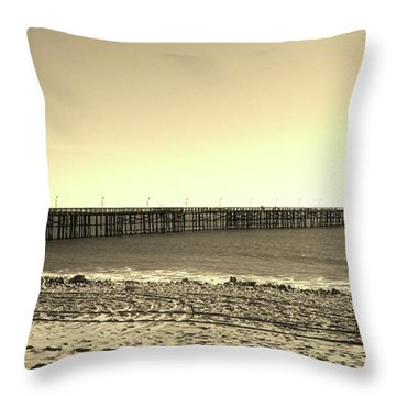 The Pier Throw Pillow by Mary Ellen Frazee