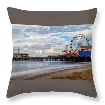 The Pier On A Cloudy Day Throw Pillow