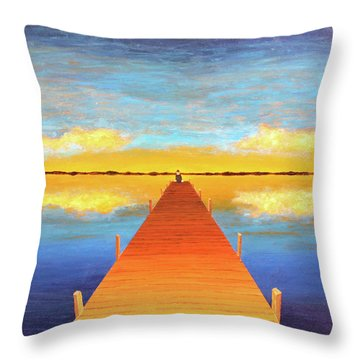 The Pier Throw Pillow by Thomas Blood
