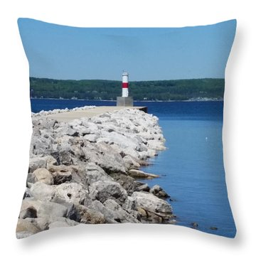Throw Pillow featuring the painting The Pier by Wendy Shoults