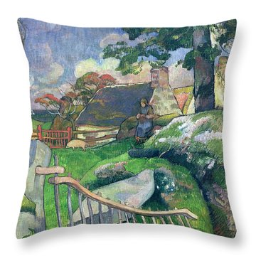 The Pig Keeper Throw Pillow by Paul Gauguin