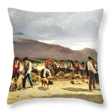 The Pig Market Throw Pillow by Pierre Edmond Alexandre Hedouin