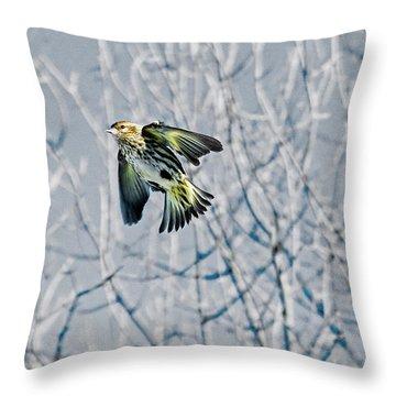The Pine Siskin In-flight Throw Pillow