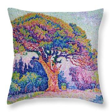 The Pine Tree At Saint Tropez Throw Pillow by Paul Signac