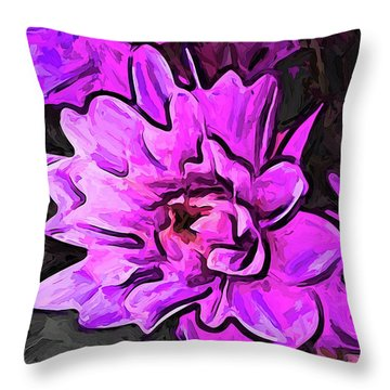 The Pink And Lavender Flowers On The Grey Surface Throw Pillow