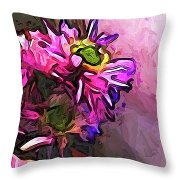 The Pink And Purple Flower By The Pale Pink Wall Throw Pillow