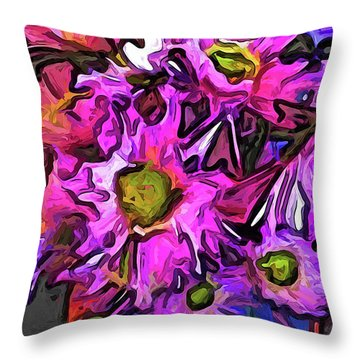 The Pink And Purple Flowers In The Red And Blue Vase Throw Pillow