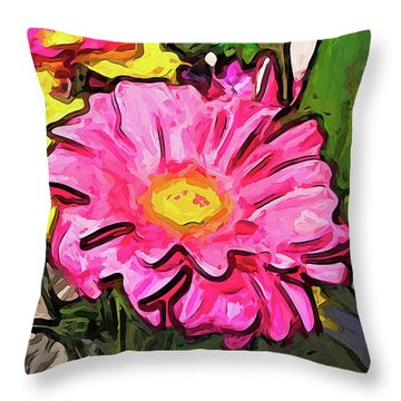 The Pink And Yellow Flowers With The Big Green Leaves Throw Pillow