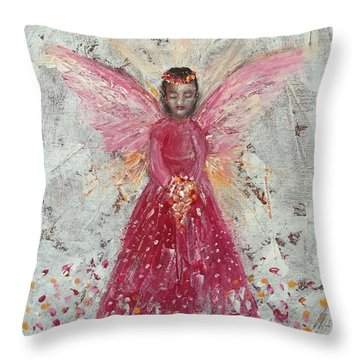 The Pink Angel 2 Throw Pillow by Jun Jamosmos