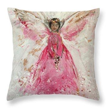 The Pink Angel  Throw Pillow by Jun Jamosmos
