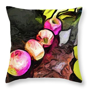 The Pink Apples In A Curve With The Yellow Lemons Throw Pillow