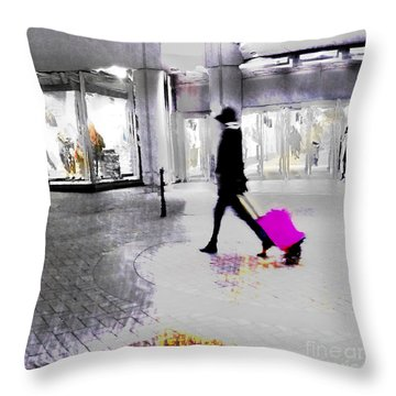 Throw Pillow featuring the photograph The Pink Bag by LemonArt Photography