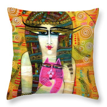 The Pink Cat Angel Throw Pillow