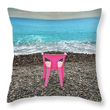 The Pink Chair Throw Pillow