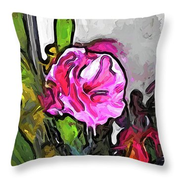 The Pink Flower With The Burgundy Buds Throw Pillow