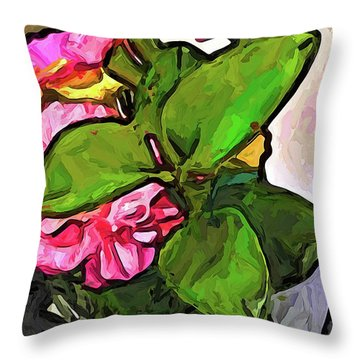 The Pink Flowers Behind The Green Leaves Throw Pillow