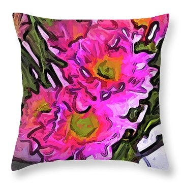 The Pink Flowers In The White Vase Throw Pillow
