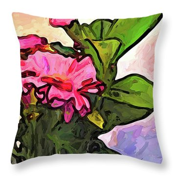 The Pink Flowers On The Left With The Green Leaves Throw Pillow