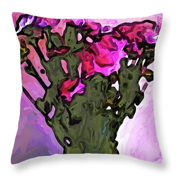 The Pink Flowers With The Long Stems In The Vase Throw Pillow