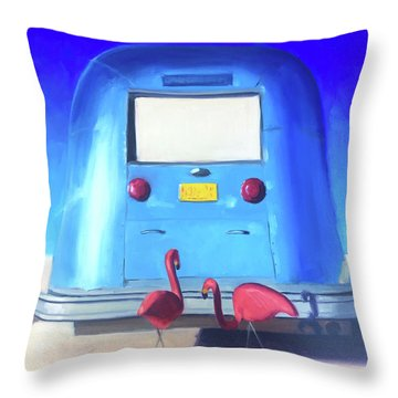 The Pink Hitchhikers Throw Pillow