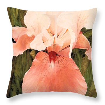Throw Pillow featuring the painting The Pink Lady  by Laurie Rohner