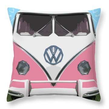 The Pink Love Bus Throw Pillow