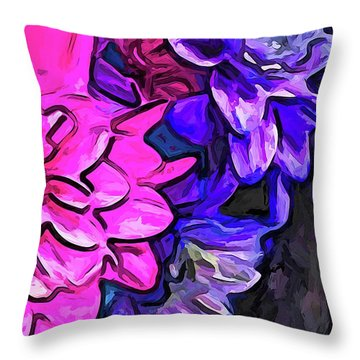The Pink Petals With The Purple And Blue Flowers Throw Pillow