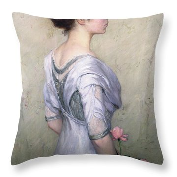 The Pink Rose Throw Pillow by Lilla Cabot Perry
