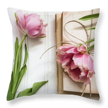 Throw Pillow featuring the photograph The Pink Tulips by Kim Hojnacki