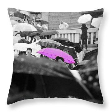 The Pink Umbrella Throw Pillow