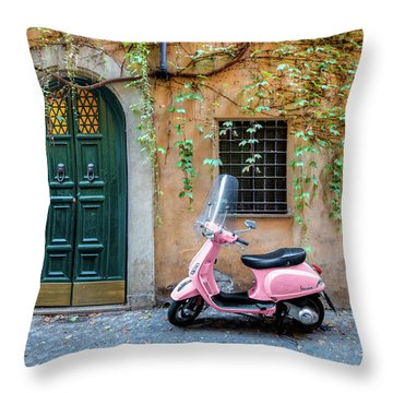 The Pink Vespa Throw Pillow