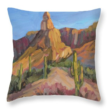 Throw Pillow featuring the painting The Pinnacle At Goldfield Mountains by Diane McClary