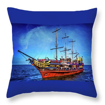 Throw Pillow featuring the photograph The Pirate Ship Ustka In Sopot  by Carol Japp