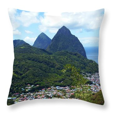Throw Pillow featuring the photograph The Pitons, St. Lucia by Kurt Van Wagner