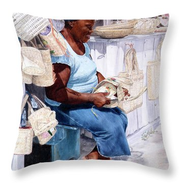 The Plait Lady Throw Pillow