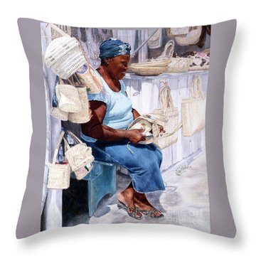 The Plait Lady Throw Pillow