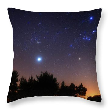 Throw Pillow featuring the photograph The Pleiades, Taurus And Orion by Luis Argerich
