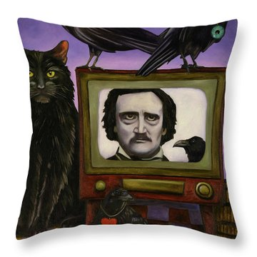 Throw Pillow featuring the painting The Poe Show by Leah Saulnier The Painting Maniac
