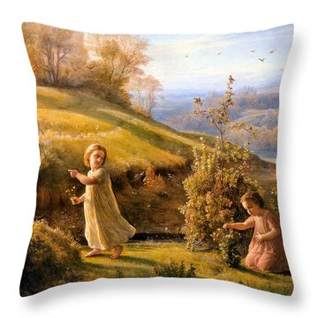 The Poem Of The Soul Spring Anne Francois Louis Janmot 1854. Throw Pillow