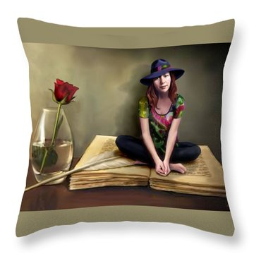 The Poetess Throw Pillow by Jann Paxton
