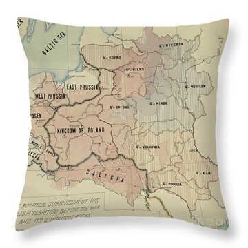 The Political Subdivision Of The Polish Territory Before The War And Its Linguistic Areas, 1918 Throw Pillow