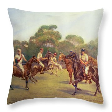 The Polo Match Throw Pillow by C M  Gonne