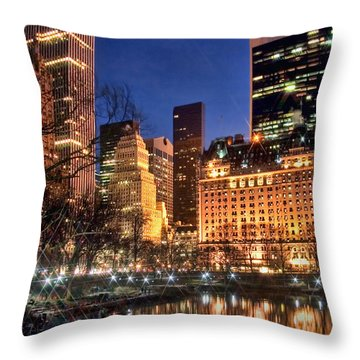 The Pond At Central Park Throw Pillow by June Marie Sobrito