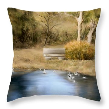 Throw Pillow featuring the painting The Pond by Bonnie Willis