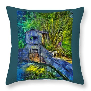 Throw Pillow featuring the photograph Blakes Pond House by Thom Zehrfeld