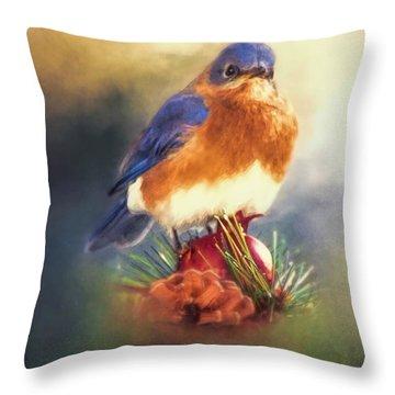 The Pondering Bluebird Throw Pillow