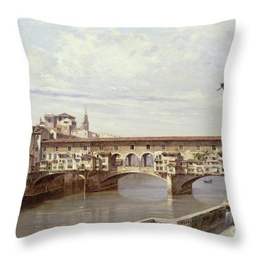 The Pontevecchio - Florence  Throw Pillow by Antonietta Brandeis