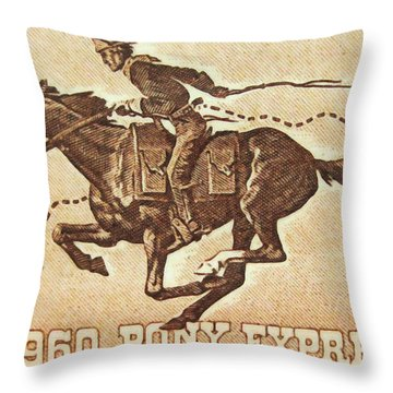 The Pony Express Centennial Stamp Throw Pillow by Lanjee Chee