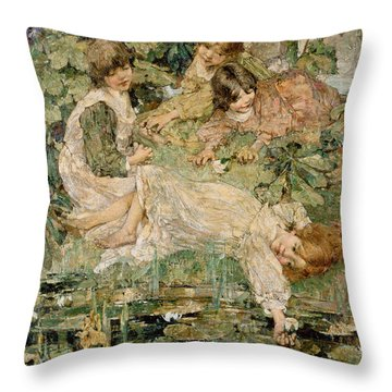 The Pool Throw Pillow by Edward Atkinson Hornel